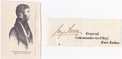 Image for SIGNED CLOSE by GEORGE ANSON British Army major-general and Whig politician, appointed Commander-in-Chief in India in 1856 with an ENGRAVED PORTRAIT.