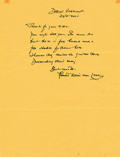 Image for AUTOGRAPH LETTER SIGNED by Dutch-born American writer, journalist and illustrator HENDRIK WILLEM VAN LOON.