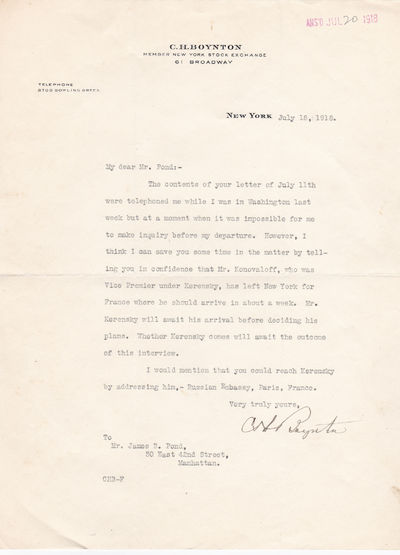 Image for TYPED LETTER SIGNED BY CHARLES H. BOYNTON AT A PIVOTAL MOMENT AFTER THE RUSSIAN REVOLUTION AND DURING WORLD WAR I.