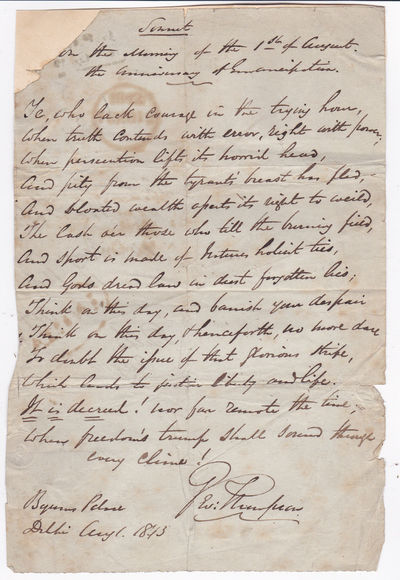 Image for AUTOGRAPH MANUSCRIPT SIGNED: A PLEA FOR ABOLITION OF SLAVERY PENNED AS A SONNET BY ACTIVIST GEORGE THOMPSON ON THE ANNIVERSARY OF EMANCIPATION IN GREAT BRITAIN.