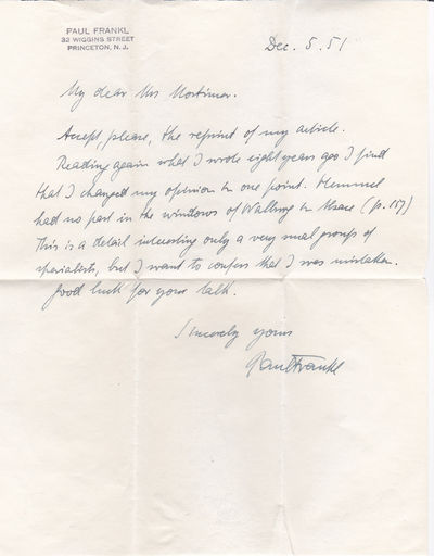 Image for AUTOGRAPH LETTER SIGNED BY PAUL FRANKL CONCERNING HIS EARLIER STATEMENTS REGARDING PETER HEMMEL AND THE WINDOWS OF WALBOURG IN ALSACE.