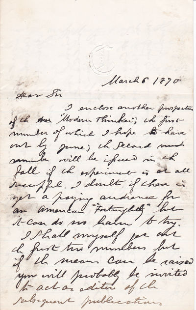 Image for A 3-PAGE AUTOGRAPH LETTER SIGNED BY THE POSITIVIST JOURNALIST DAVID GOODMAN CROLY, Addressed to the American Philosopher and Historian JOHN FISKE.