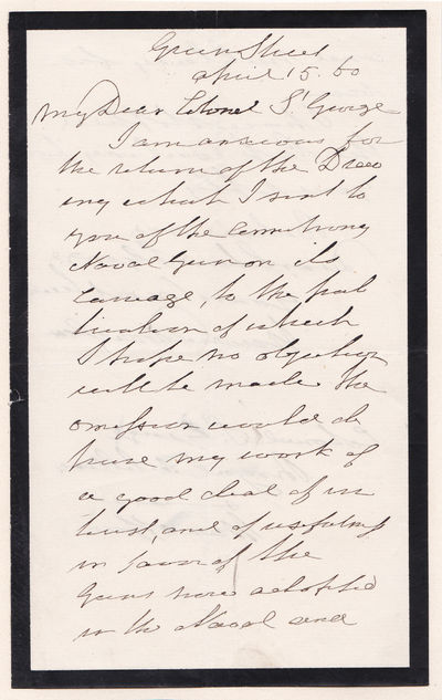 "Image for AUTOGRAPH LETTER SIGNED BY SIR HOWARD DOUGLAS REQUESTING A DRAWING FOR HIS ""TREATISE ON NAVAL GUNNERY""."