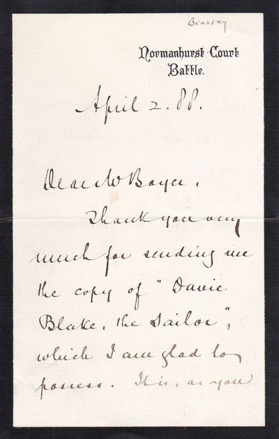 "Image for AUTOGRAPH LETTER REFERRING TO MARY SEWELL'S JUVENILE ""DAVIE BLAKE THE SAILOR"", SIGNED BY YACHTSMAN THOMAS BRASSEY."