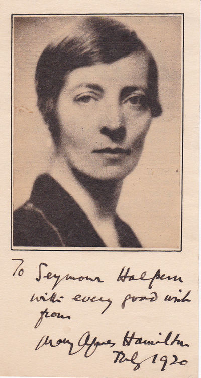 Image for AUTOGRAPH OF BRITISH LABOUR PARTY POLITICIAN MARY AGNES HAMILTON INSCRIBED BELOW A NEWSPAPER PORTRAIT TO FUTURE NEW YORK POLITICIAN SEYMOUR HALPERN.