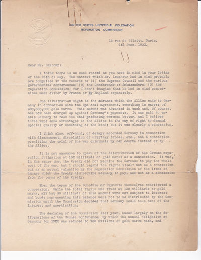 Image for TWO TYPED LETTERS SIGNED by ROLAND WILLIAN BOYDEN as U.S. representative on the Reparation Commission, regarding concessions accorded Germany.