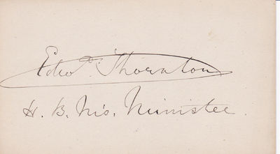 Image for SIGNATURE ON A CARD OF BRITISH DIPLOMAT AND MINISTER TO AMERICA EDWARD THORNTON.