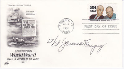 Image for FIRST DAY COVER SIGNED BY WORLD WAR II ACE FIGHTER PILOT JAMES W. EMPEY.