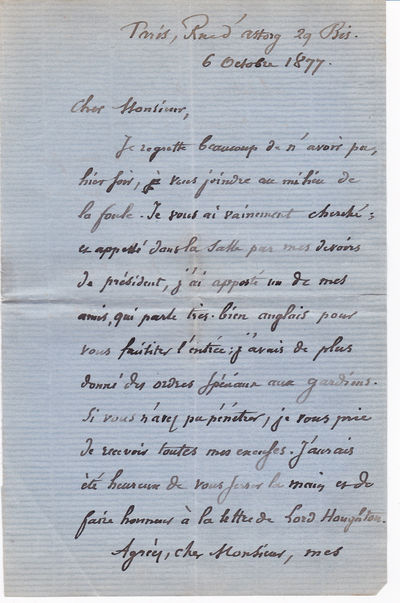 Image for AUTOGRAPH LETTER SIGNED BY FRENCH STATESMAN AND PHILOSOPHER JULES BARTHELEMY-SAINT-HILAIRE.
