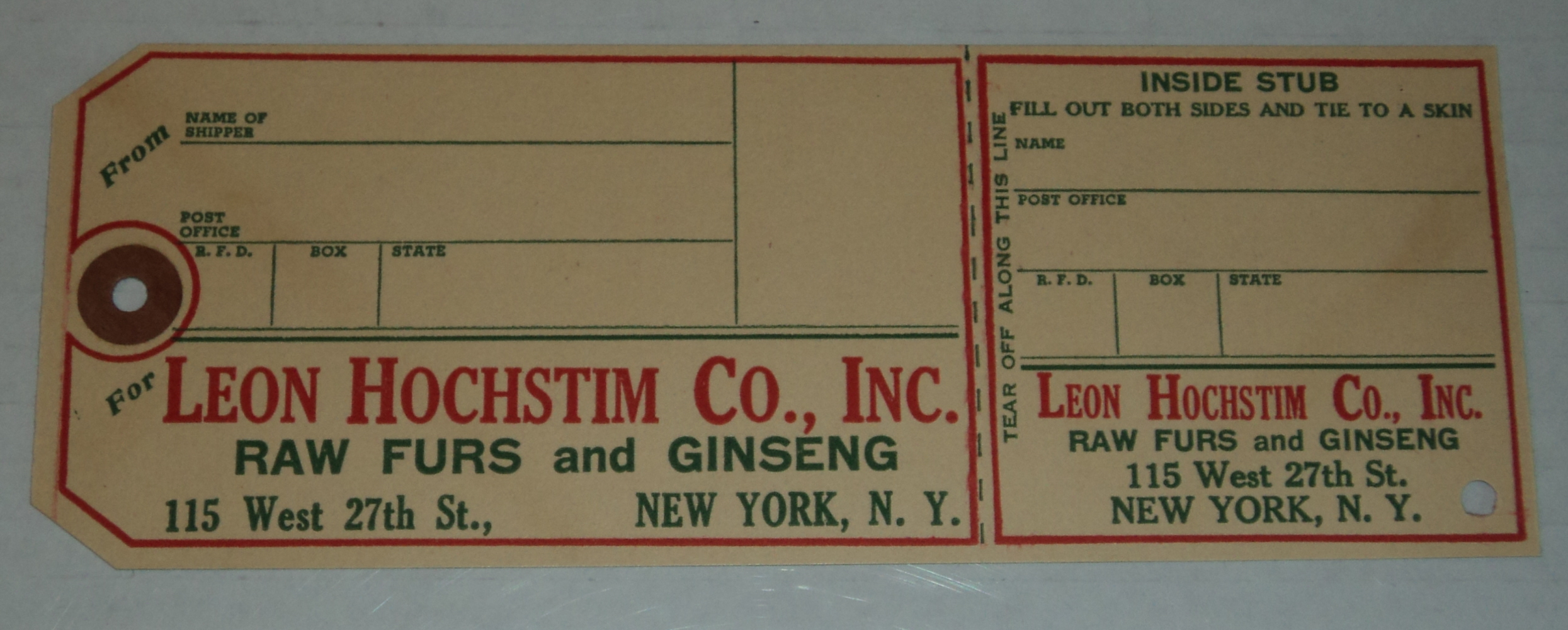 Image for LEON HOCHSTIM CO. INC. RAW FURS AND GINSENG printed form letter and price list distributed to TRAPPERS & SUPPLIERS OF FURS.
