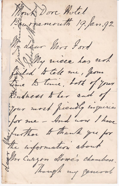 "Image for A FOUR-PAGE AUTOGRAPH LETTER SIGNED by the British General and Literary Figure SIR EDWARD BRUCE HAMLEY to Mrs. Mary Ford, widow of Richard Ford who wrote the popular ""Handbook for Travellers in Spain""."