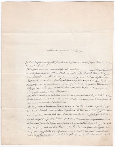 Image for A SUBSTANTIAL 4-PAGE AUTOGRAPH LETTER SIGNED by STANISLAS D'ESCAYRAC DE LAUTURE, MARQUIS D'ESCAYRAC, while on his expedition to discover the source of the Nile, to FERDINAND DE LESSEPS, the developer of the Suez Canal.